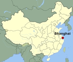 Map of China showing the location of Shanghai