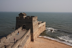 Old Dragon's Head, the eastern end of the Great Wall of China at Shanhaiguan