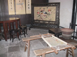 A display of embroidery at the Former Residence of Lu Xun (Lu Xun Native Place) in Shaoxing, China