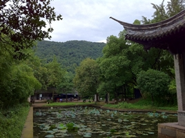 A lotus pond and pavilion at Orchid Pavilion (兰亭 or Lan Ting) in Shaoxing, China