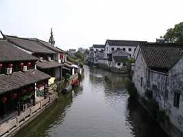 "A canal in a ""water town"" area of Shaoxing (绍兴), China"