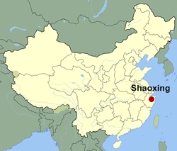 Map of China showing the location of Shaoxing