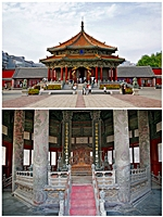 Exterior and interior views of Dazheng Hall in Shenyang's Former Imperial Palace, or Mukden Palace