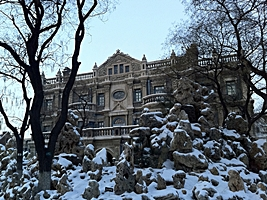Snow-covered rock landscaping in front of the Former Residence of General Zhang Xueliang in Shenyang (沈阳), China