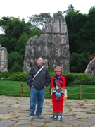 Brantley from CIT posing with a local guide in Yunnan's Stone Forest