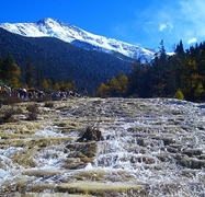 Shallow rapids in the Huanglong area of Sichuan Province, China