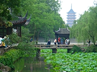 A Jiangnan-style garden and pagoda in Suzhou