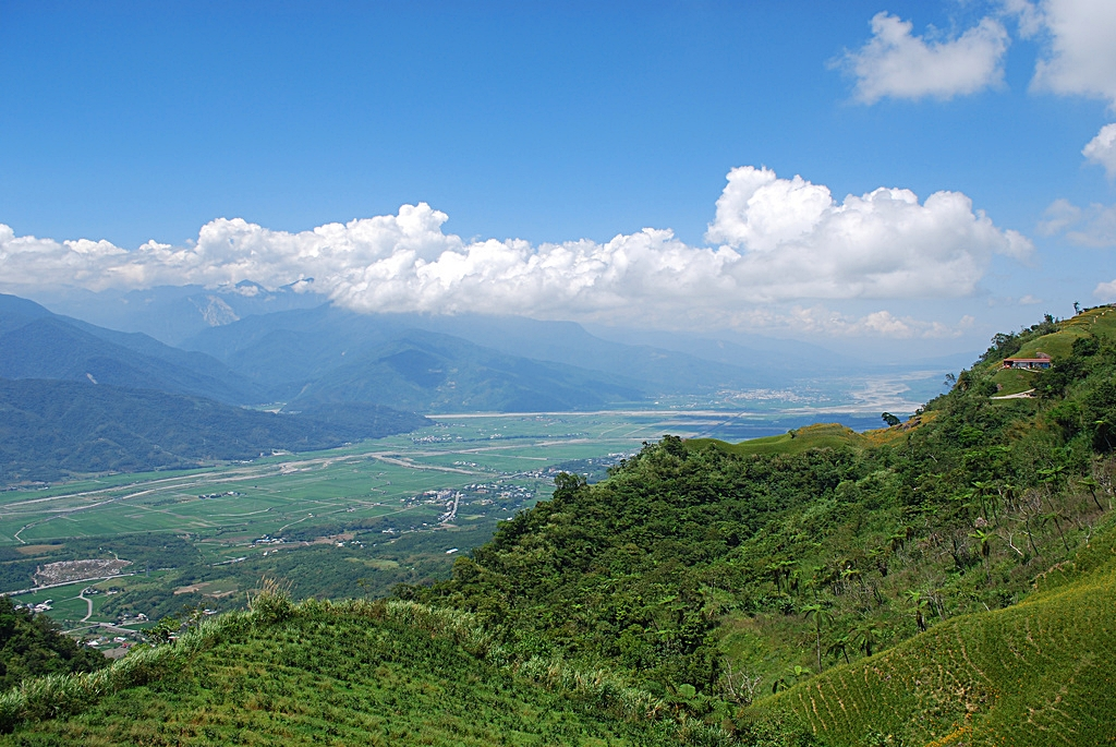 A green valley under a blue sky in eastern Taiwan