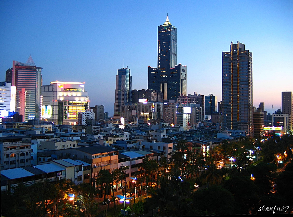 Office towers and residential buildings in downtown Kaohsiung, Taiwan
