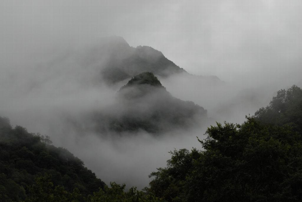 Thick mist in Taiwan's Taroko Gorge