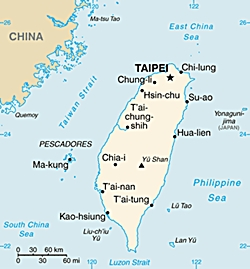 Map of Taiwan showing its location relative to China
