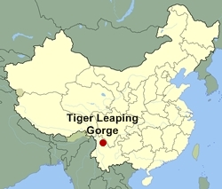 Map of China showing the location of Tiger Leaping Gorge