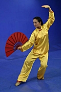 Master Amin Wu performing a t'ai chi fan form