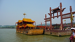 A replica of a boat from ancient China at Three Kingdoms City in Wuxi, China - photo by Stephen Oung