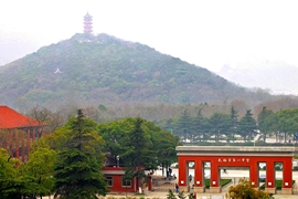 Huishan ('Hui Mountain' or 'Hui Hill') and Dragon Light Pagoda in Wuxi (无锡), China's Xihui Park