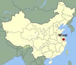 Map of China showing the location of Wuxi