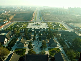 A view of the pagoda grounds and the surrounding area from the top of Big Goose Pagoda in Xi'an (西安), China