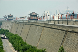 A view along the Xi'an City Walls, with watchtowers in the distance