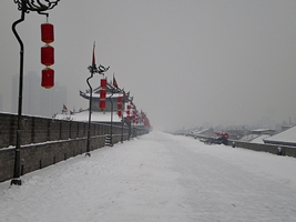 A view along the snow-covered walkway on top of the City Walls in Xi'an (西安), China