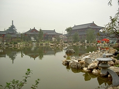 A pond and its carefully landscaped surroundings at Huaqing Hot Springs near Xi'an (西安), China