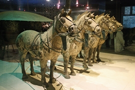 Bronze horses and a chariot on display at the tomb of the First Emperor near Xi'an (西安), China