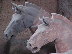 A closeup of the heads of terracotta horses at the tomb of the First Emperor near Xi'an (西安), China