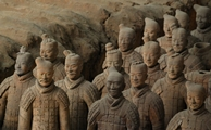 A group of the First Emperor's terracotta soldiers in Lintong near Xi'an, China