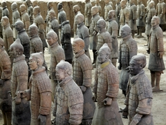Terracotta soldiers showing traces of their original paint at the tomb of the First Emperor in Xi'an (西安), China