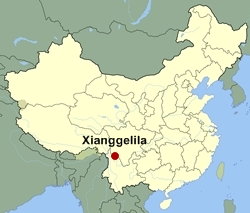 Map of China showing the location of Xianggelila