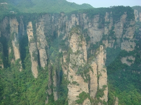 A view of karst (limestone) cliffs and peaks from the Bailong Sightseeing Elevator in Zhangjiajie (张家界), Hunan Province, China