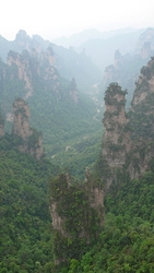 A stream passes through karst landscape in the Ten-Mile Gallery (十里画廊) area of Zhangjiajie (张家界), Hunan Province, China