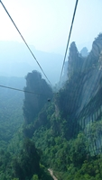 View from a cable car downward along the gondola cables in the Tianzi Mountain area of Zhangjiajie (张家界), Hunan Province, China
