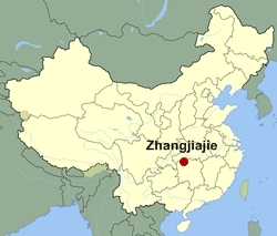 Map of China showing the location of Zhangjiajie