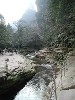 A stream flows through karst (limestone) landscape in Zhangjiajie (张家界), Hunan Province, China